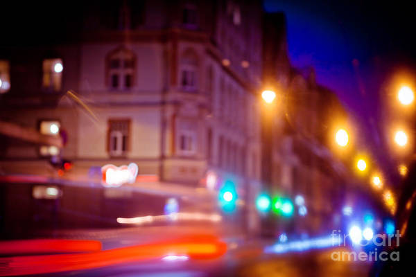 Photograph - Night Light Trail Abstract by Raimond Klavins
