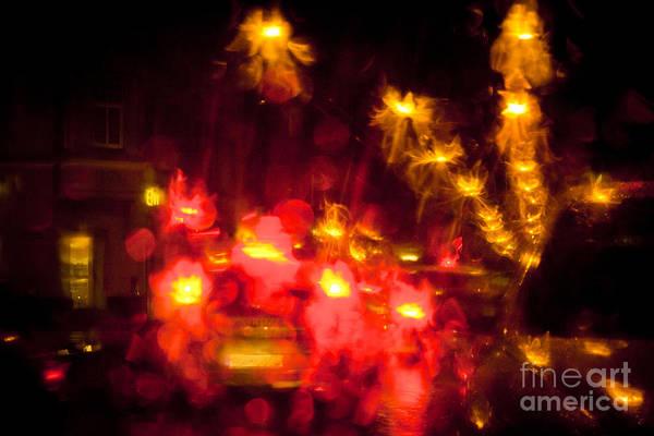 Photograph - Night Light Trails On A City Street by Raimond Klavins