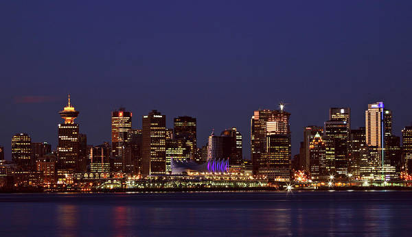 Vancouver Digital Art - Night Lights Of Downtown Vancouver by Mark Duffy