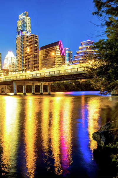 Photograph - Night Lights Of The Austin City Skyline by Gregory Ballos