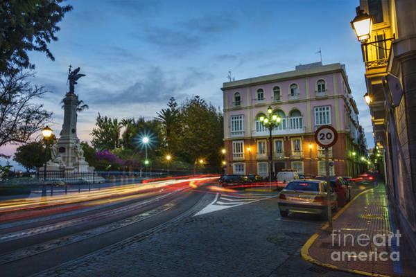 Photograph - Night Lights On Alameda Apodaca Cadiz Spain by Pablo Avanzini