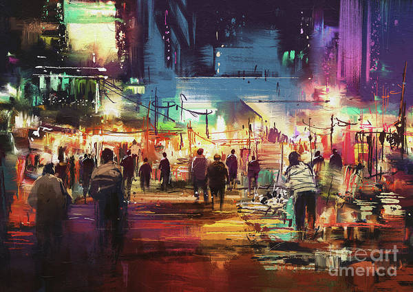 Art Print featuring the painting Night Market by Tithi Luadthong