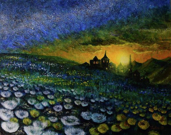 Leta Eydelberg Wall Art - Painting - Night Meadow by Leta Eydelberg