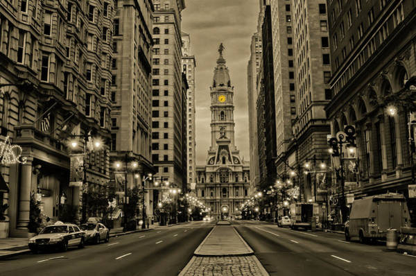 Photograph - Night On Broad Street - Philadelphia In Sepia by Bill Cannon