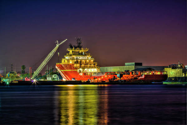 Port Of Tampa Wall Art - Photograph - Night Overhaul by Marvin Spates