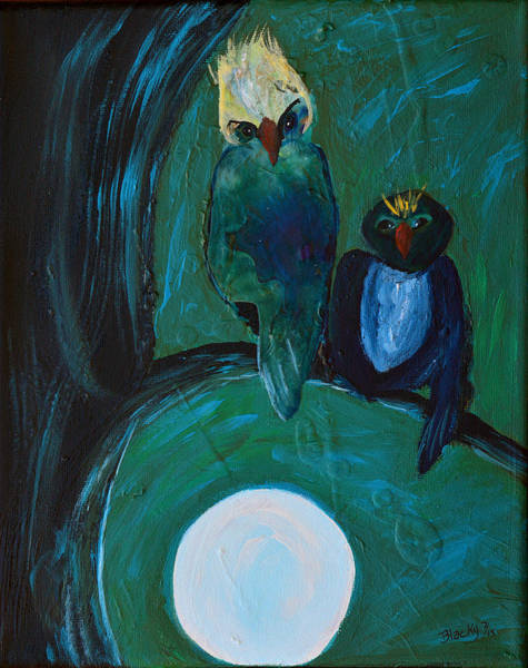 Wall Art - Painting - Night Owls by Donna Blackhall