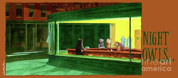 Owl Painting - Night Owls... by Will Bullas