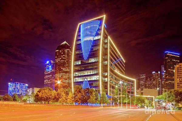 Wall Art - Photograph - Night Photograph Of Downtown Dallas Skyline - Hunt Oil Building Dallas Texas by Silvio Ligutti