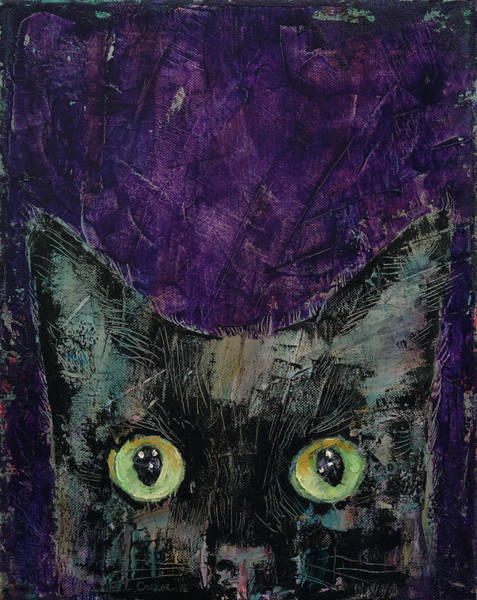 Crazy Cat Painting - Night Prowler by Michael Creese