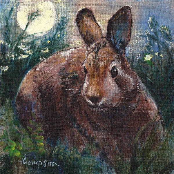 Cottontail Wall Art - Painting - Night Rabbit I by Tracie Thompson