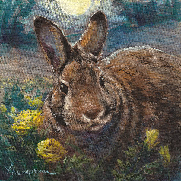 Cottontail Wall Art - Painting - Night Rabbit II by Tracie Thompson