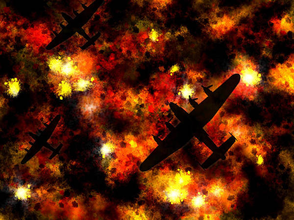 Avro Wall Art - Digital Art - Night Raid - Lancaster Bomber by Michael Tompsett