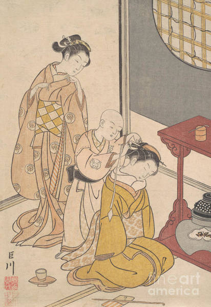 Woodblock Painting - Night Rain At The Double Shelf Stand, From The Series Eight Parlor Views  by Suzuki Harunobu