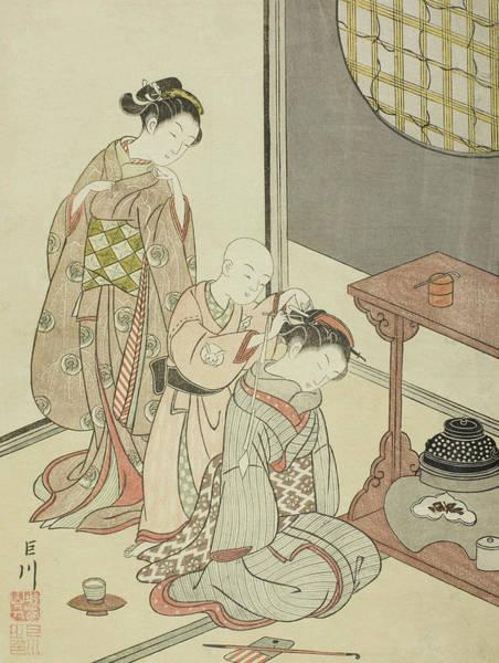 Woodblock Painting - Night Rain Of The Tea Stand by Suzuki Harunobu