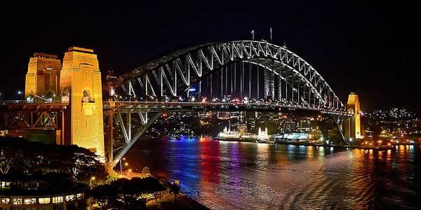 Photograph - Night Rainbow - Sydney Harbour Bridge by KJ Swan