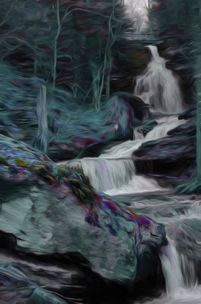 Digital Art - Night Rainbow Waterfall by Beth Sawickie