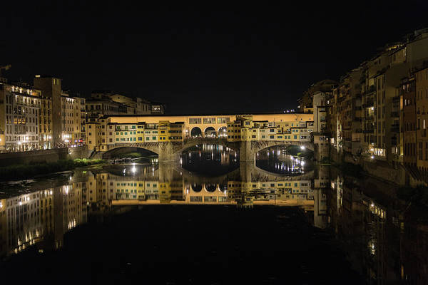 Photograph - Night Reflections Of The Ponte Vecchio by Patricia Schaefer