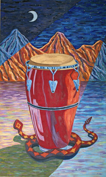 Conga Drum Painting - Night Rythym by Karin Griffiths