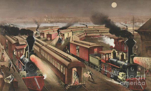 Wall Art - Painting - Night Scene At An American Railway Junction by Currier and Ives