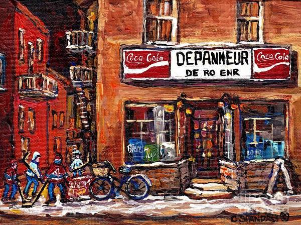 Painting - Night Scene Hockey Laneway Painting Depanneur De-ro Rue De La Roche Best Montreal Winter Art Scenes  by Carole Spandau