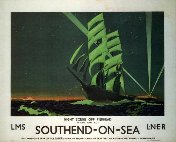 Sailboat Mixed Media - Night Scene Off Pierhead - Southend-on-sea, England - Retro Travel Poster - Vintage Poster by Studio Grafiikka