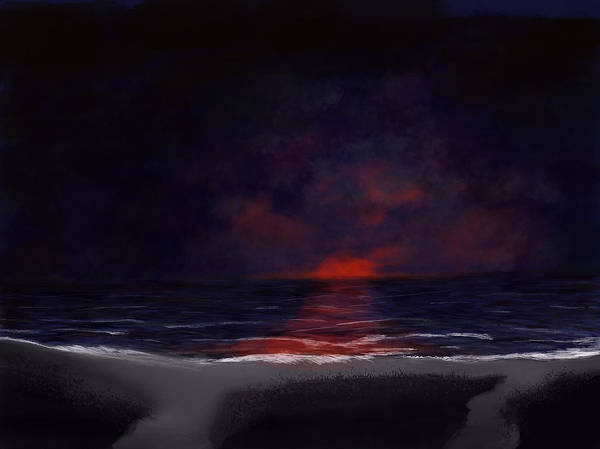 Digital Art - Night Sea by Dick Bourgault