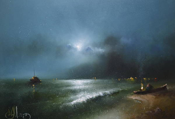 Russian Impressionism Wall Art - Painting - Night Sea by Igor Medvedev