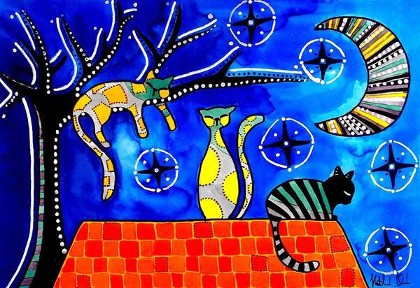 Painting - Night Shift - Cat Art By Dora Hathazi Mendes by Dora Hathazi Mendes