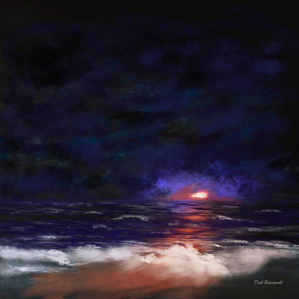 Painting - Night Shoreline by Dick Bourgault