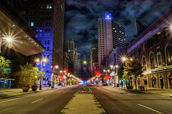 Photograph - Night Shot Of Broad Street - Philadelphia by Bill Cannon