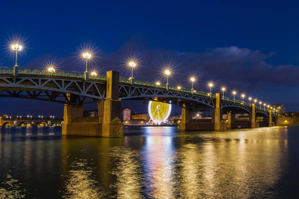 Chapel Bridge Photograph - Night Shot Of The Pont Saint-pierre by Semmick Photo