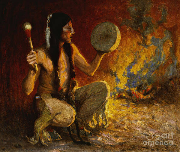 Indian Camp Painting - Night Signals by Eanger Irving Couse