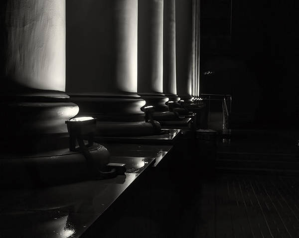 Photograph - Night Silhouette On Rain Soaked Columns Black And White by John Williams