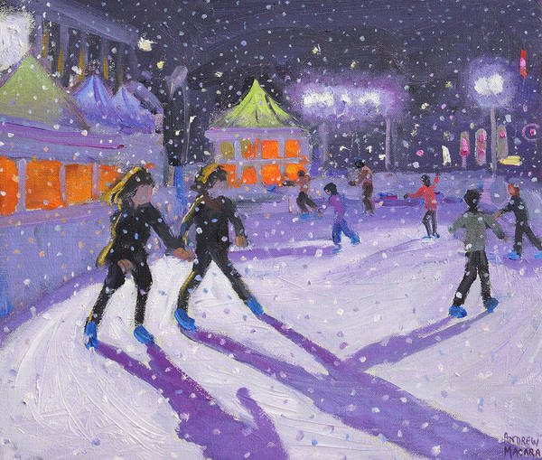 Figure Skater Painting - Night Skaters by Andrew Macara