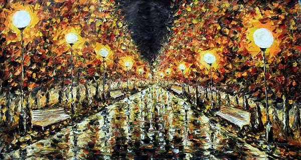 Special Offer Painting - Night Street - Palette Knife Painting By Rybakow by Valery Rybakow