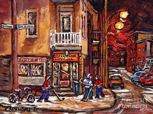 Painting - Night Street Hockey Game Painting Depanneur Familiale Ville Emard Cote St Paul Scenes Canadian Art  by Carole Spandau
