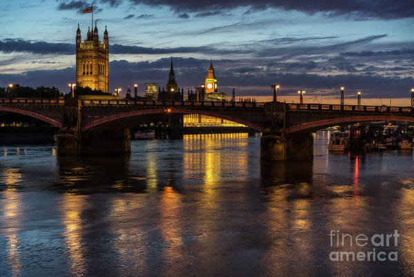 Westminster Bridge Photograph - Night Thames Mood by Mike Reid