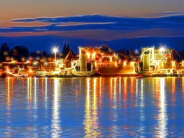 Night Time At The Shipyard Art Print