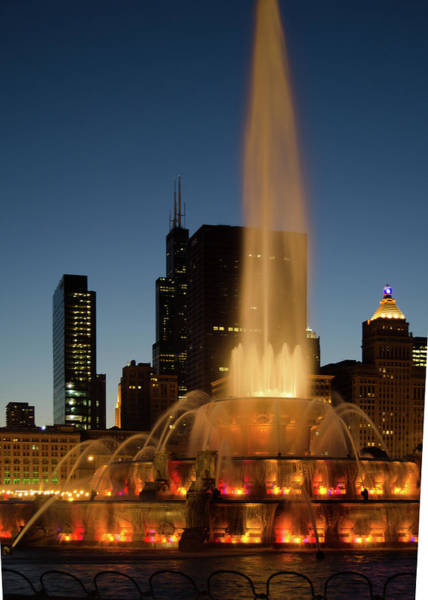 Photograph - Night Time Fountain by Tom Potter