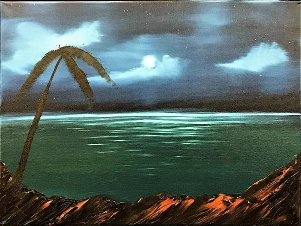 Wall Art - Painting - Night Time Ocean View by Willy Proctor