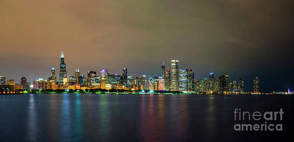 Photograph - Night Time Panorama Of Chicago Skyline by Dawid Swierczek