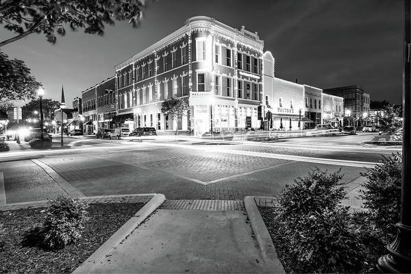 Corner Shop Wall Art - Photograph - Night Traffic - Downtown Bentonville Arkansas - Black And White by Gregory Ballos