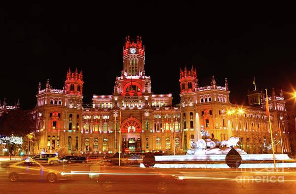Photograph - Night Traffic In Plaza De Cibeles Madrid Spain by James Brunker