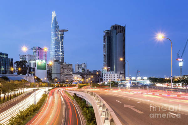 Photograph - Night Traffic Rush In Ho Chi Minh City In Vietnam by Didier Marti