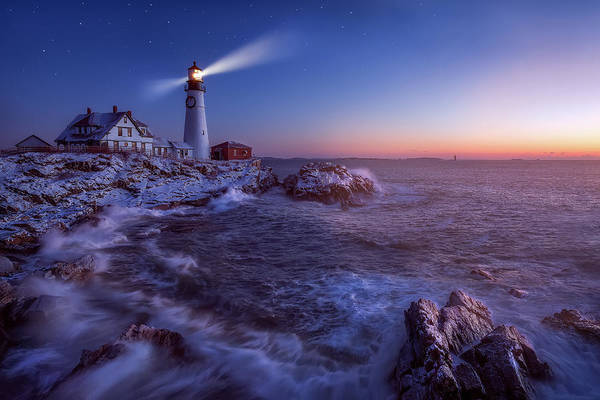 Wall Art - Photograph - Night Turns Into Day At Portland Head Light by Jeff Bazinet