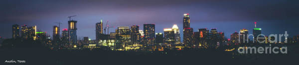 Night View Of Downtown Skyline In Winter Art Print