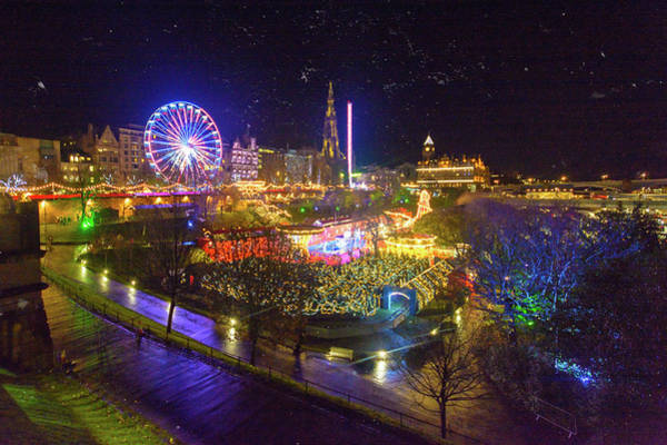 Photograph - Night View Over Christmas Market At Princes Street Gardens Edinburgh by Jacek Wojnarowski