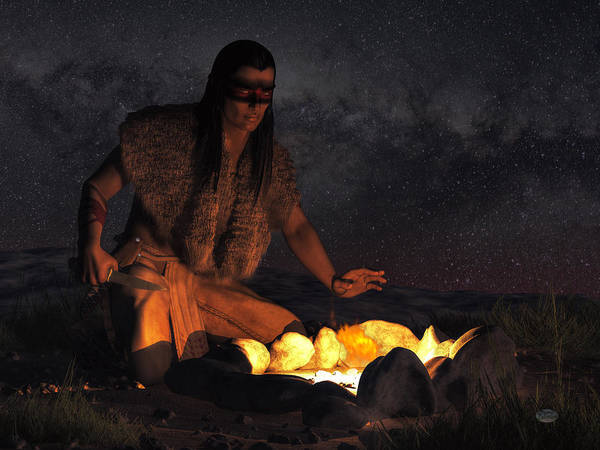 Indian Brave Digital Art - Night Warrior by Daniel Eskridge