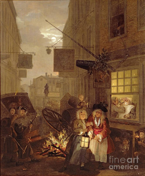 Poverty Wall Art - Painting - Night by William Hogarth