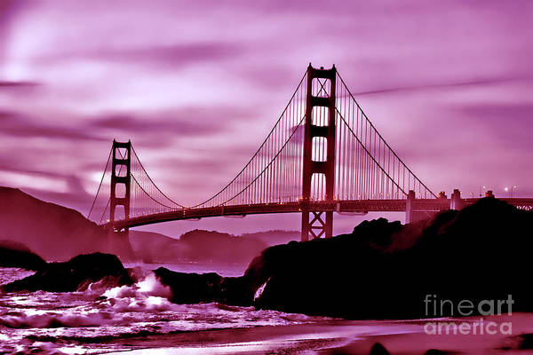 Nightfall At The Golden Gate Art Print
